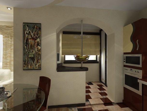 Перегородка на кухне, объединенной с балконом