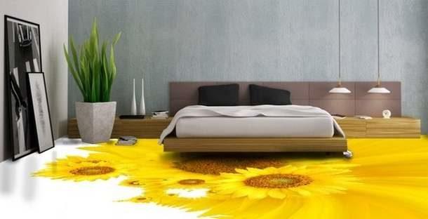 В комнате для сна также будут уместны цветочные мотивы