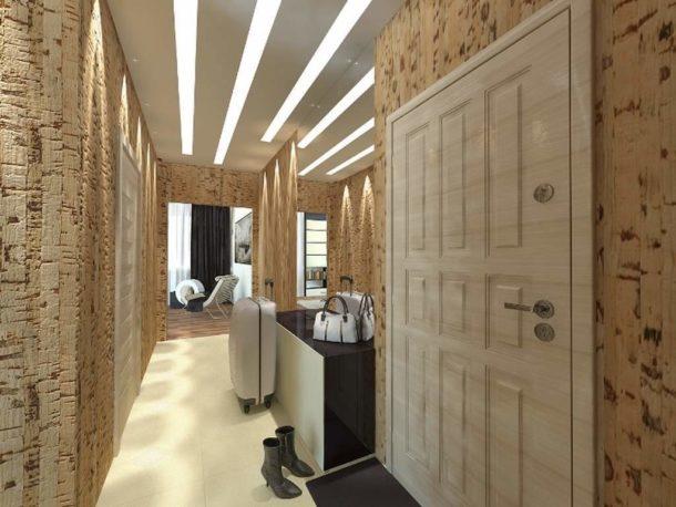 Потрясающая пробковая отделка в коридоре и прихожей
