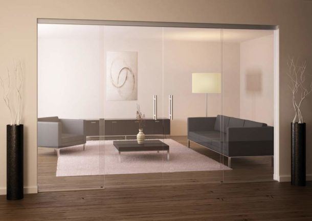 Использование стекла для зонирования комнат