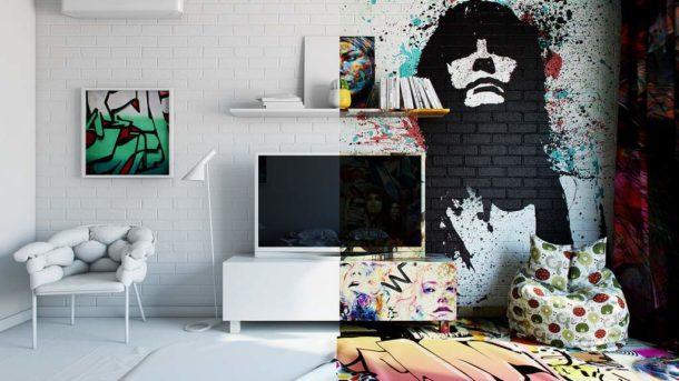 Граффити на стене в квартире: виды граффити