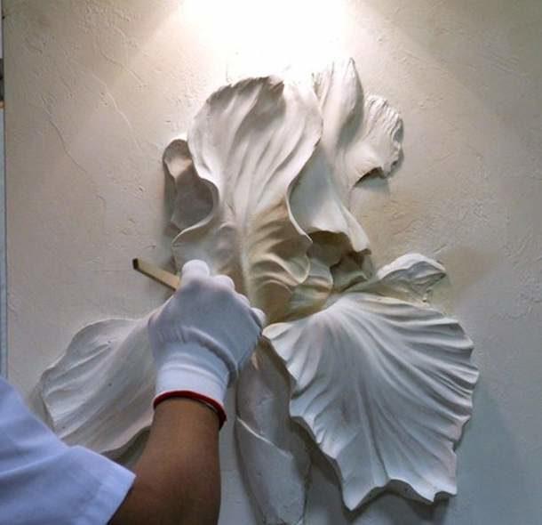 Мастер класс барельеф цветка из гипсовой шпаклевки своими руками 38