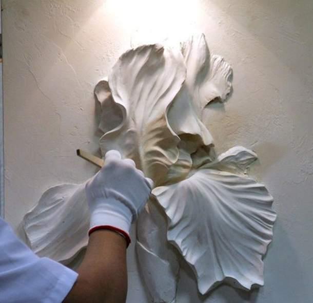 Барельеф на стене цветок своими руками 100