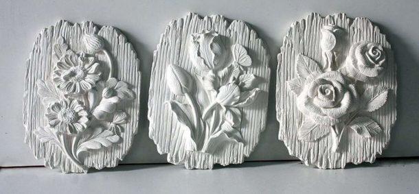 Панно из гипса, созданные методом формовки