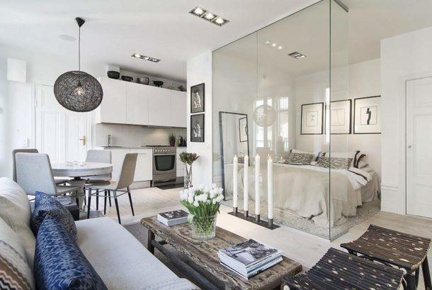 Зонирование с помощью стекла в квартире-студии