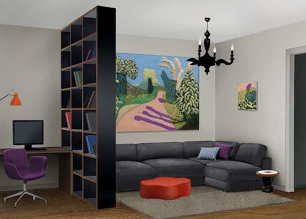 Стеллаж-перегородка для зонирования комнаты (9 фото)