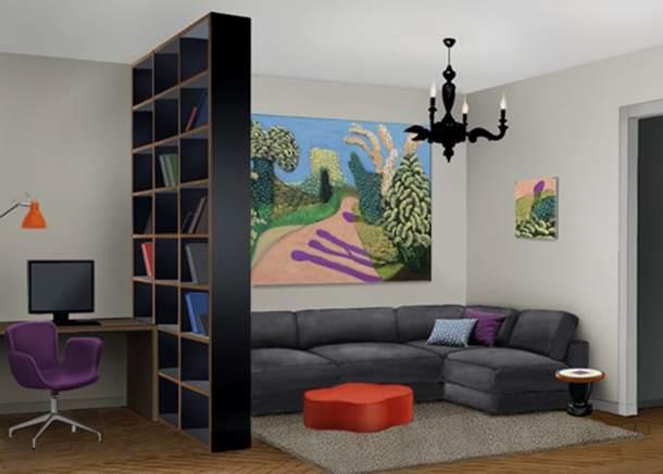 Стеллаж-перегородка в комнате своими руками