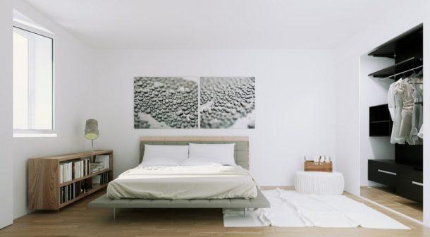 Белизна стен разбавляется только украшением над кроватью
