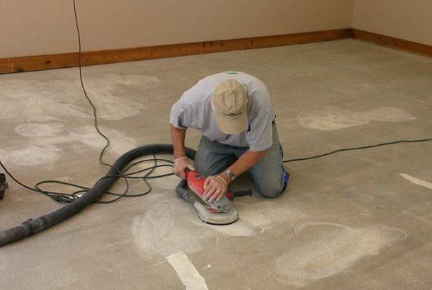 Шлифовка бетонного покрытия после заделки выбоин