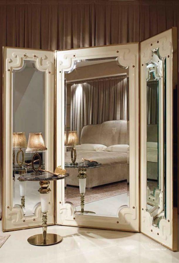 Зеркальная ширма для классической спальни