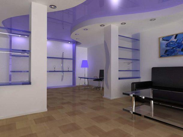 Зонирование гостиной разными уровнями и расцветкой потолка