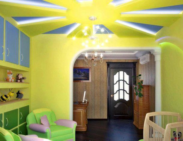 Дизайн потолка с подсветкой в детской комнате