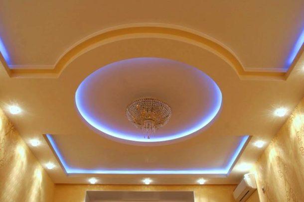 Одна из возможных форм гипсокартонной конструкции с подсветкой