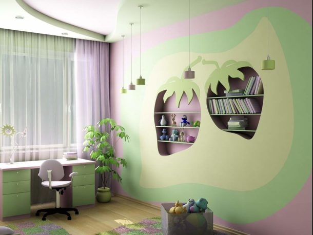 Интересная идея оформления потолка и стен с помощью гипсокартона