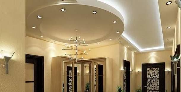 Гипсокартонные потолочные конструкции в большой прихожей