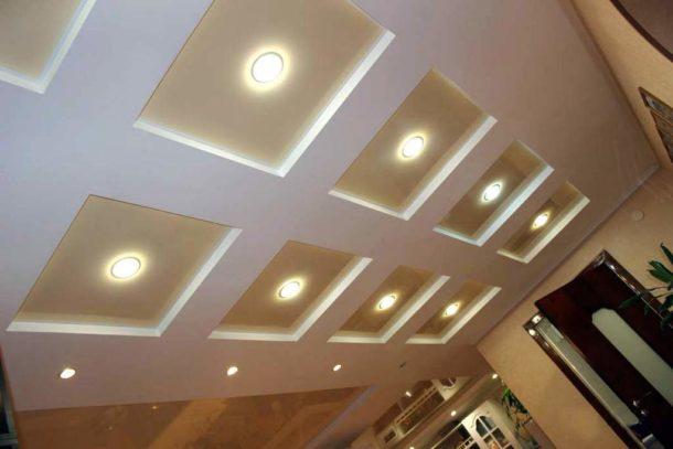 Гипсокартонный вариант кессонного потолка