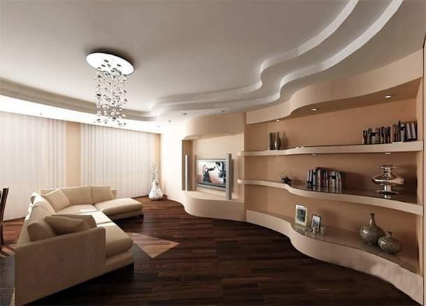 Красивый многоуровневый потолок с плавными линиями