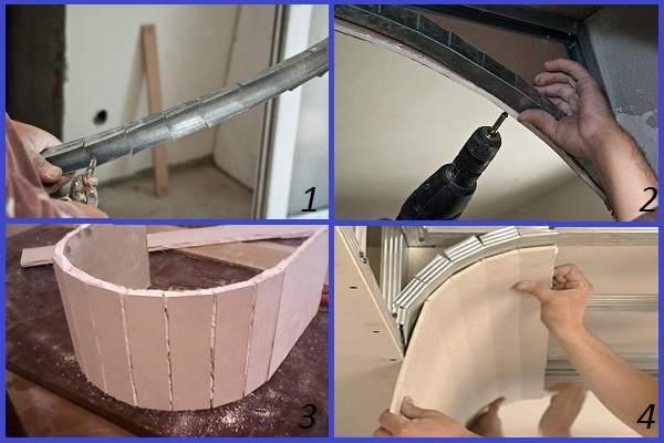 Монтаж каркаса для криволинейных конструкций