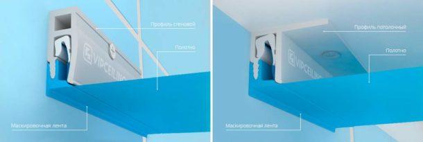 Конструкция натяжного потолочного покрытия