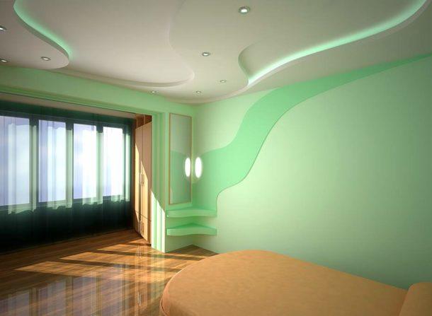 Потолочная конструкция из ГКЛ с подсветкой