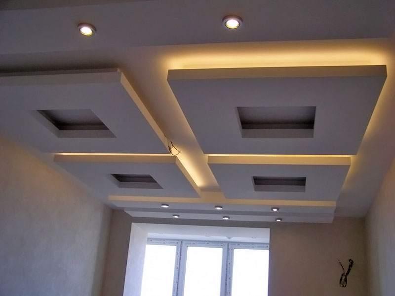 Потолок из гипсокартона своими руками квадраты 100