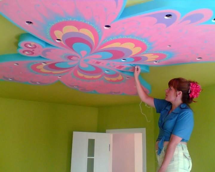 Как сделать рисунок на потолке своими руками 47
