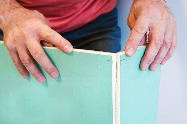 Раскрой гипсокартонного листа перед креплением
