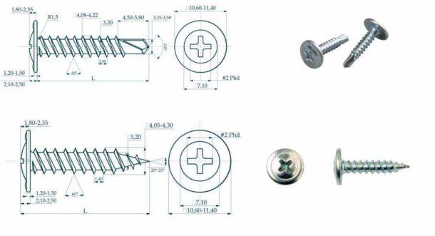 """Шурупы """"клопы"""" для соединения элементов металлопрофиля: со сверлом и острым концом"""