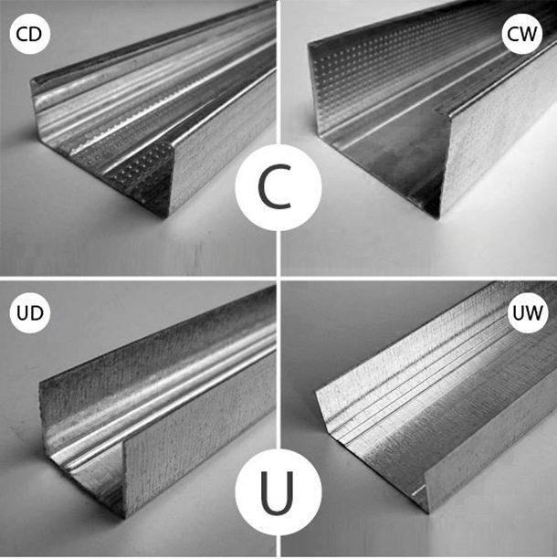Разновидности металлических профилей - несущие (вверху) и направляющие (внизу)