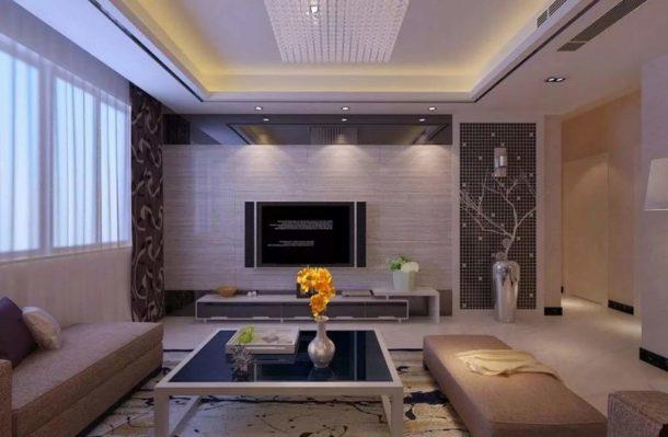 Подобрать подходящую конфигурацию потолка можно для любой гостиной