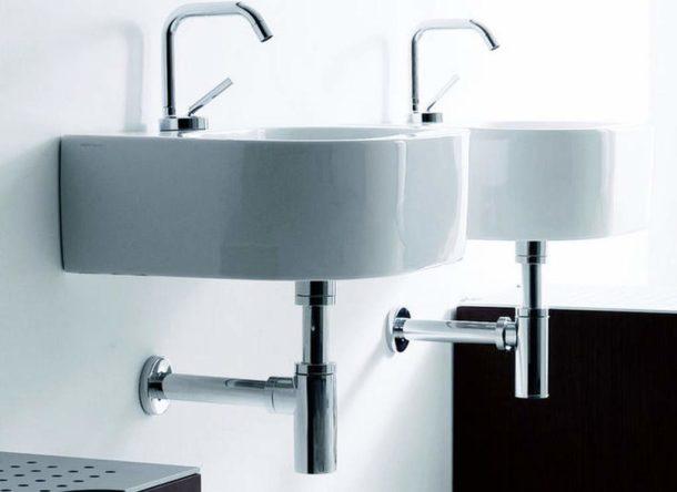 Хромированные бутылочные сифоны в ванной