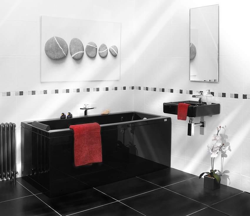 Ванная комната черно белый дизайн