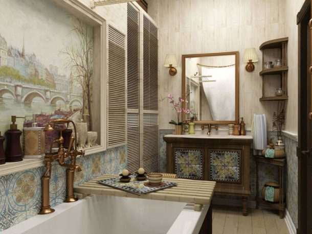 Природная цветовая палитра стиля прованс в ванной