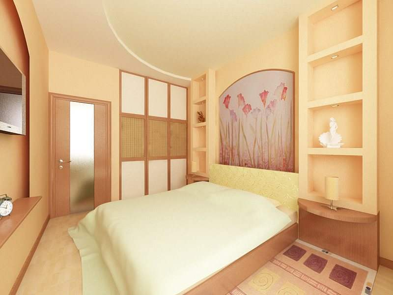 Дизайн маленькой спальни гипсокартон