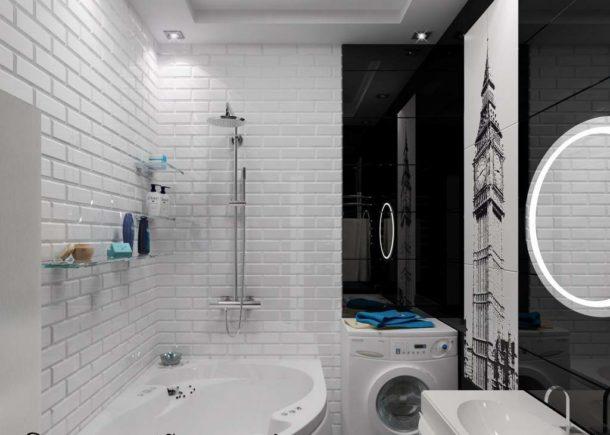 Тщательно продуманный дизайн ванной в черно-белых тонах