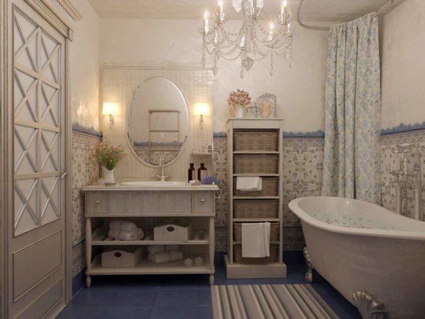 Светильники, характерные для интерьера ванной в стиле прованс