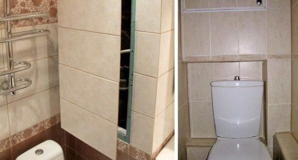 Короб из ГКЛ для труб в туалете
