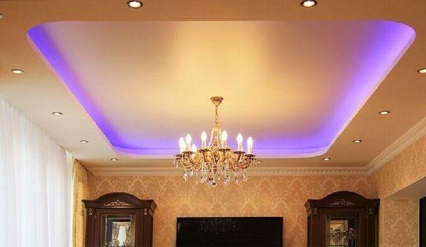 Короб из гипсокартона на потолке под натяжной потолок с подсветкой
