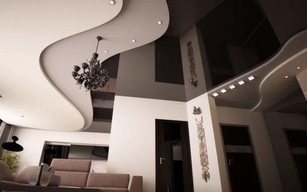 Многоуровневый потолок из ГКЛ со вставкой из натяжного полотна