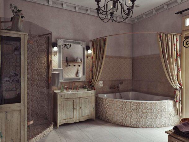 Комбинирование плитки, мозаики и декоративной штукатурки на стенах ванной
