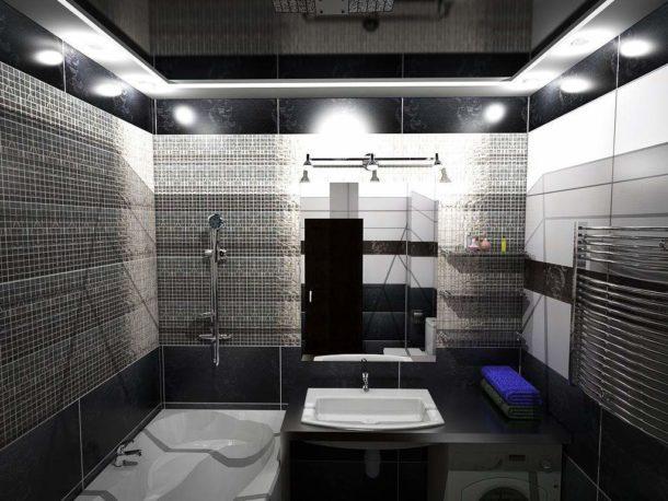 Освещение в черно-белой ванной