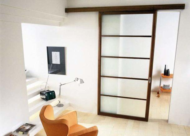 Перегородка из ГКЛ с раздвижной дверью