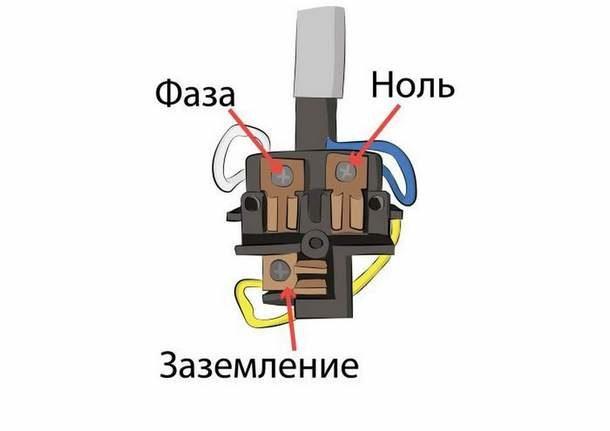 Схема подключения трехжильного кабеля