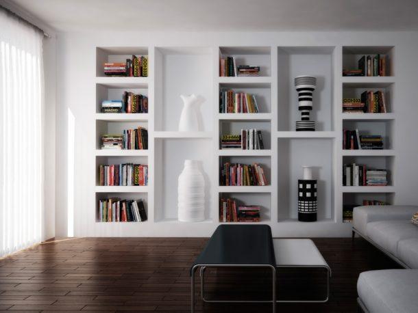 Гипсокартонные полки могут стать изюминкой интерьера зала