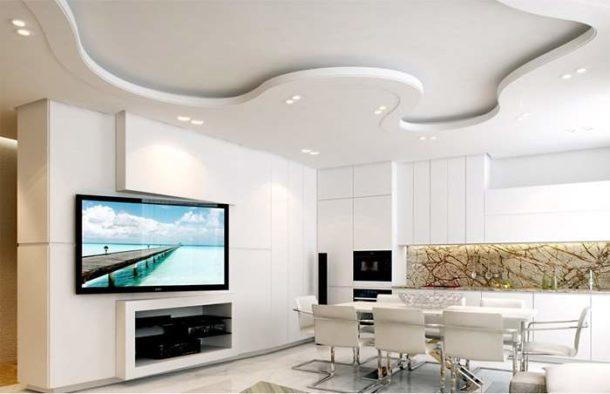 Красивый гипсокартонный потолок в кухне-столовой