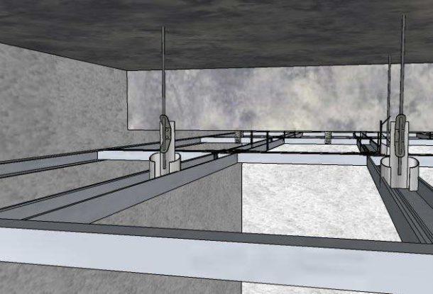 Каркас подвесного потолка, закрепленный с помощью анкерных подвесов с тягой