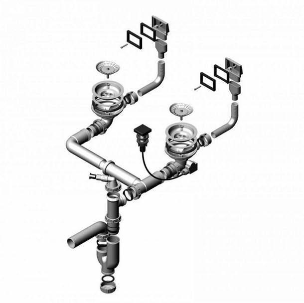 Конструкция сливного устройства с переливом для двойной раковины