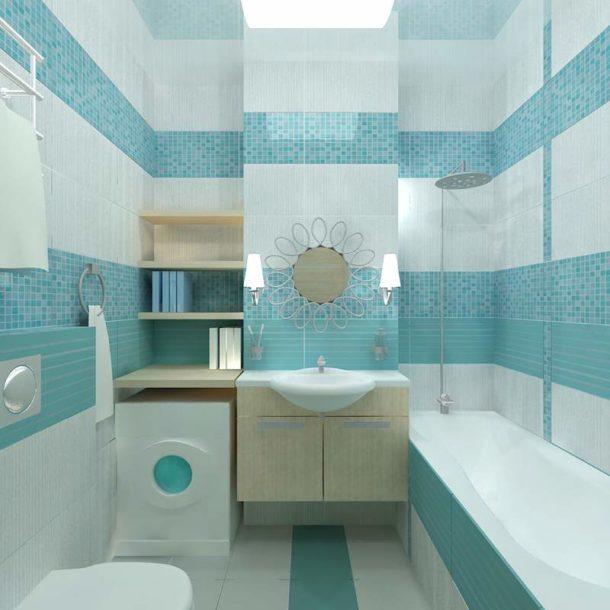 Светло-голубая плитка в небольшой ванной