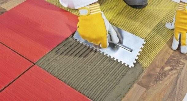 Укладка плитки с использованием малярной сетки
