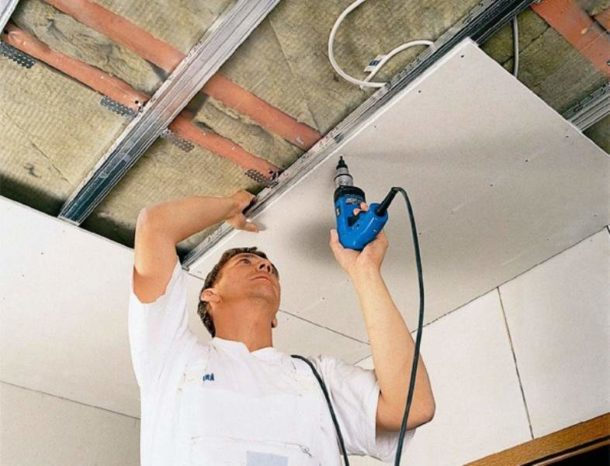 Утепление потолка с использованием гипсокартона
